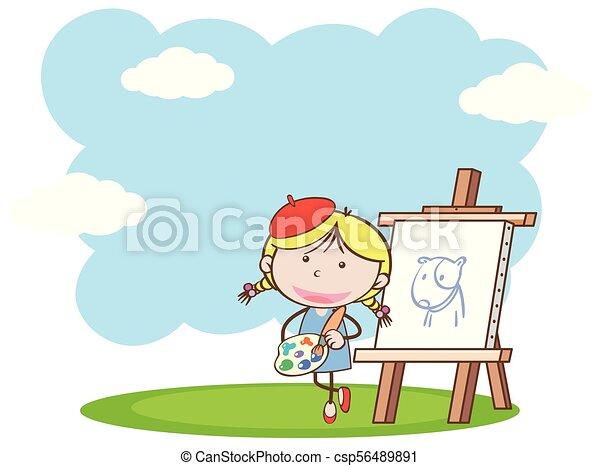 Una chica pintando en el parque - csp56489891