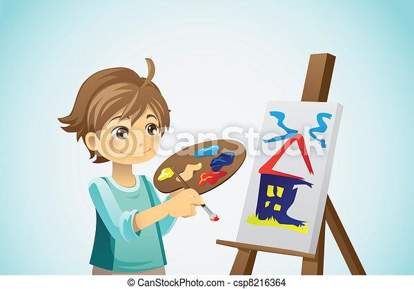 pintura, niño - csp8216364