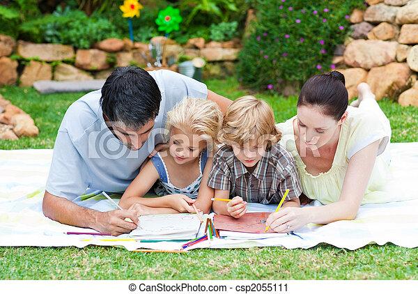 pintura, parque, familia , feliz - csp2055111