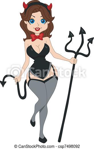 pinup girl devil illustration of a pinup girl dressed as a devil