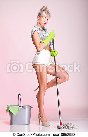 pinup girl Woman housewife cleaner portrait - csp10952983
