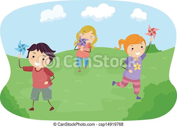 Stickman-Kinder spielen mit Windrädern auf einem Feld - csp14919768