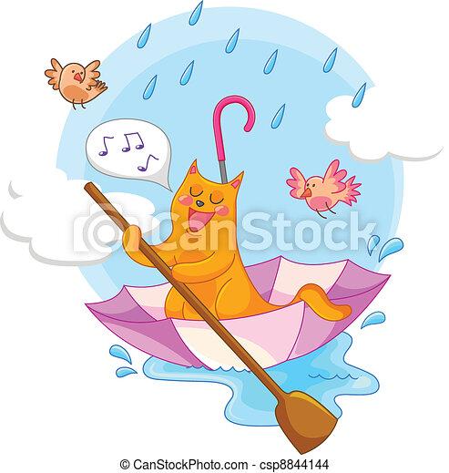 pioggia, gatto - csp8844144