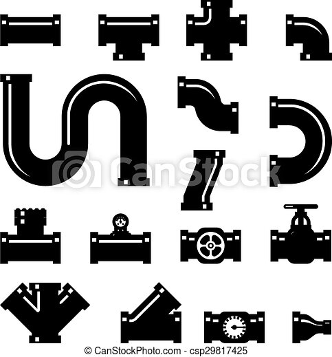 Pipe Fittings Vector Icons Set Tube Industry