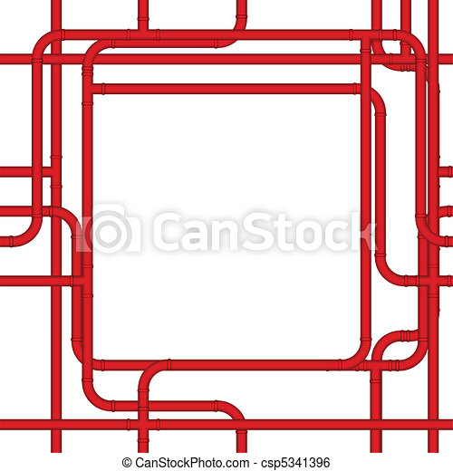 Pipe frame. Red pvc pipes form a plumbing frame.