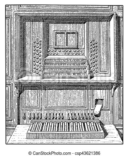 Pipe organ console and pedals, vintage engraving - csp43621386