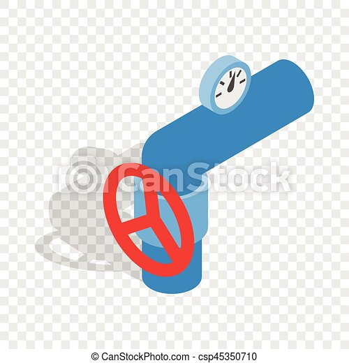 Pipe with a red valve and meter isometric icon - csp45350710