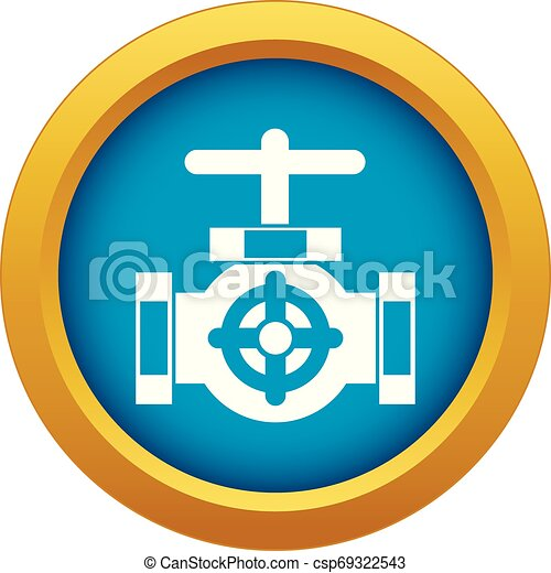 Pipe with a valves icon blue vector isolated - csp69322543
