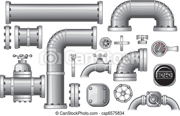 vector collection of pipe and pipeline isolated construction pieces rh canstockphoto com vector pipeline canada vector pipeline lp