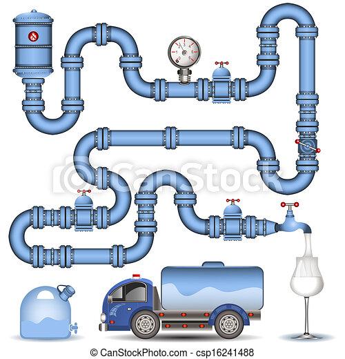 pipeline, fond, bleu - csp16241488