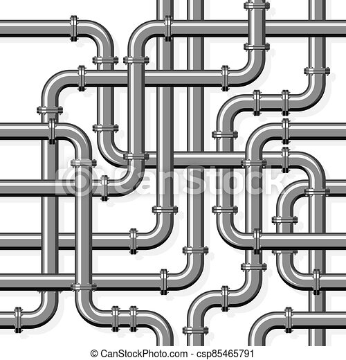 Pipeline realistic vector seamless pattern in flat style. Intertwining steel pipes on a white background - csp85465791