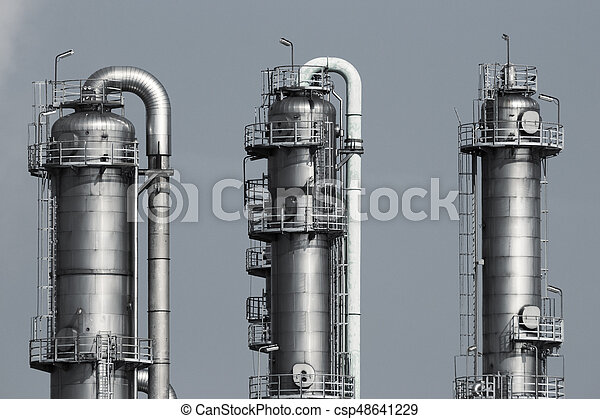 Pipelines of a oil and gas refinery industrial plant - csp48641229