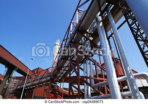 pipes on pipe-bridge - csp24469073