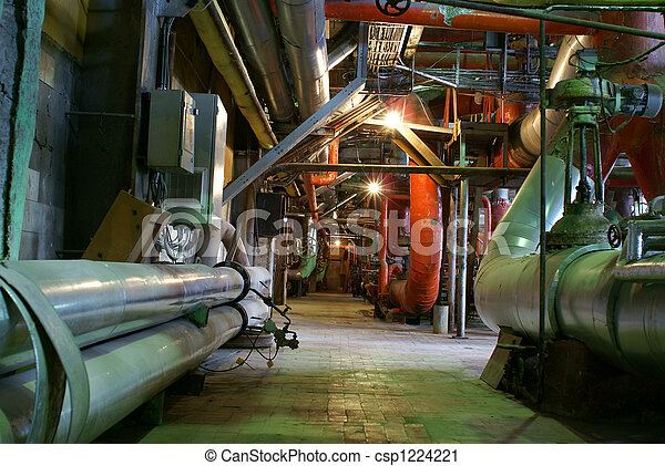 Pipes, tubes, machinery and steam turbine at a power plant - csp1224221