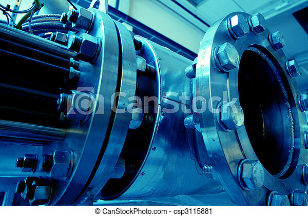Pipes, tubes, machinery and steam turbine at a power plant - csp3115881