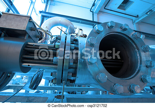 Pipes, tubes, machinery and steam turbine at a power plant - csp3121702