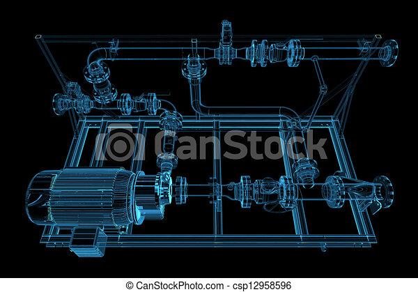 Piping (3D xray blue transparent) - csp12958596