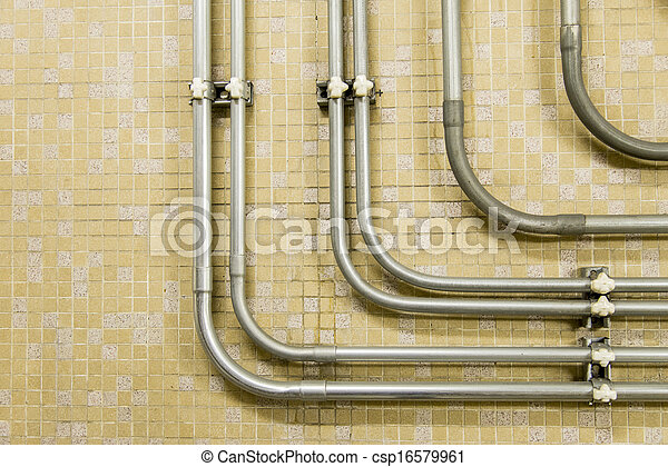 Piping connector on the wall - csp16579961