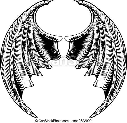 Pipistrello Drago Disegno O Ali Pipistrello Woodcut Vendemmia