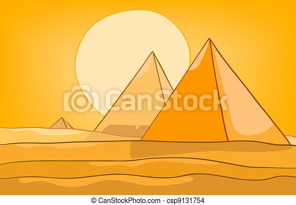 Pirámide de paisajes de dibujos animados - csp9131754