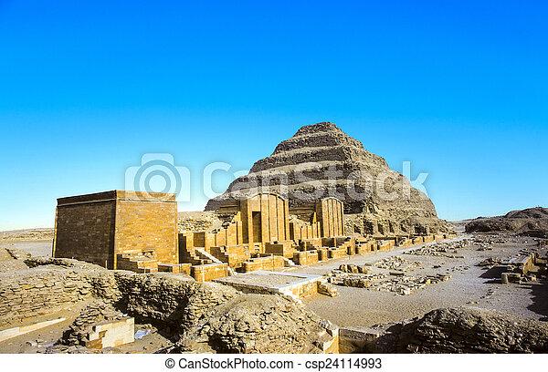 pirámide, egypt., saqqara, djoser, unesco, mundo, necropolis - csp24114993