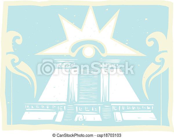 Pirámide doble maya con glifo de ojos venus - csp18703103