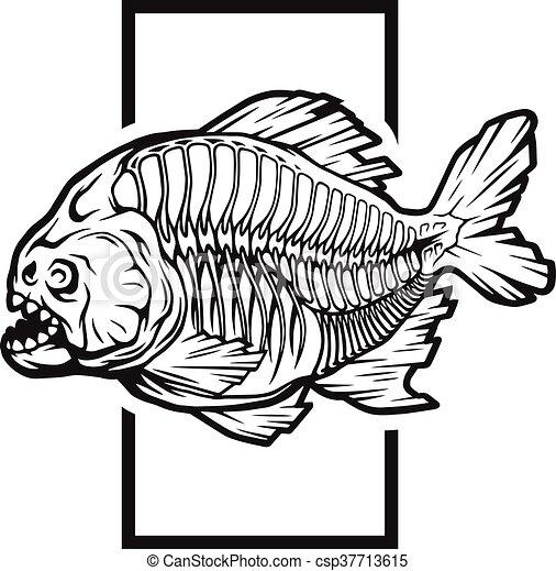 Pirañas, vector, esqueleto, illustration. Pirañas, geométrico, plano ...
