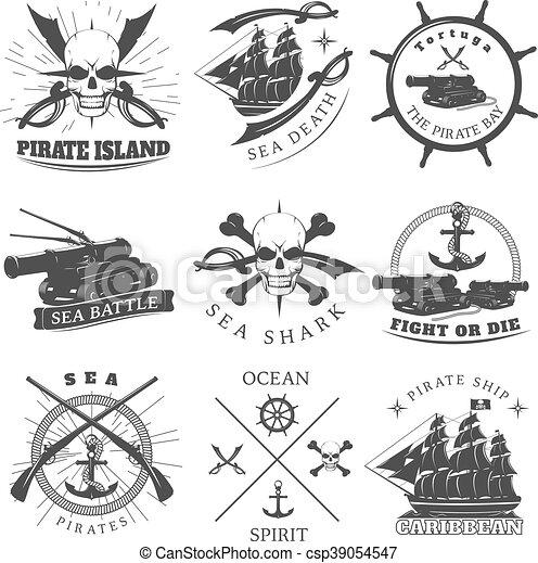 Piracy Black White Labels - csp39054547