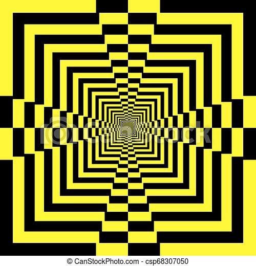 piramide, abstract, gele, black , perspectief, oneindig, trap - csp68307050