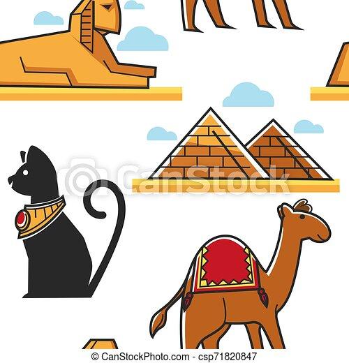 Piramide Esfinge Camelo Egito Padrao Seamless Gato Camelo