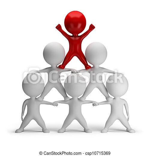 piramide, succes, mensen, -, kleine, 3d - csp10715369
