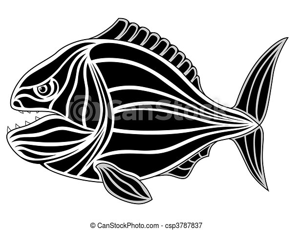 Line Art Of Fish : Piranha tattoo. black tribal fish tattoo vectors