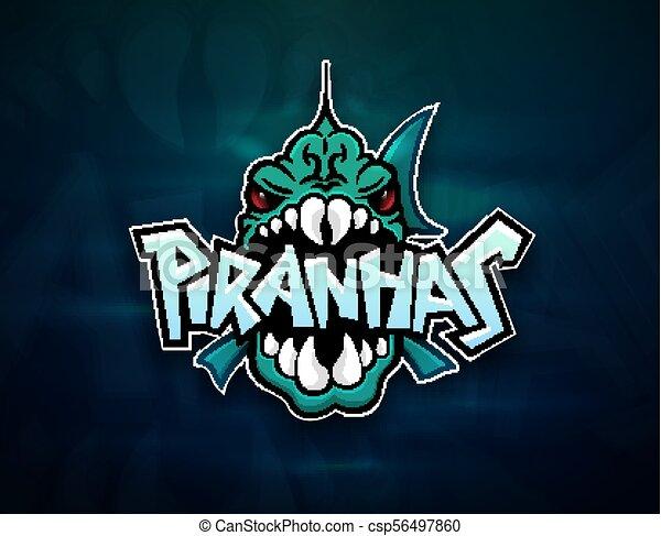 0468466e Piranhas emblem logo for sports team