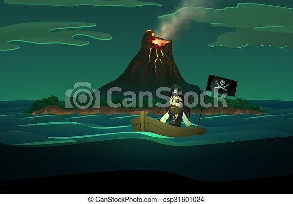 Pirata calma naufrago boat. oceano. montagna oceano calma