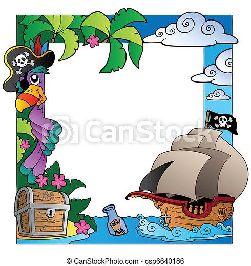 Pirata cornice tema mare 4 illustration cornice for Mare clipart
