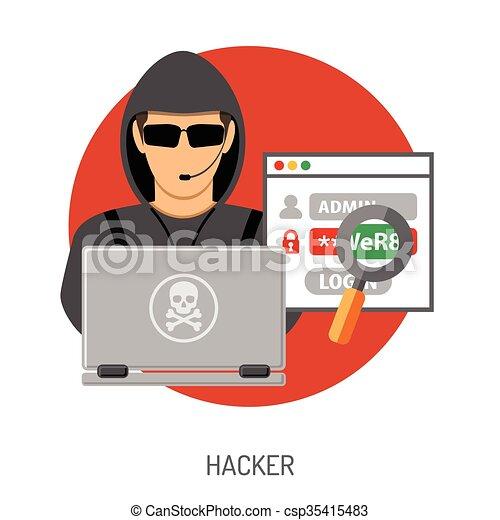 El concepto del crimen cibernético con el hacker - csp35415483