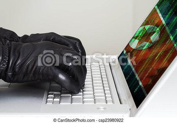 Hacker llevaba guantes negros usando un portátil con bandera de Corea del Norte - csp23980922