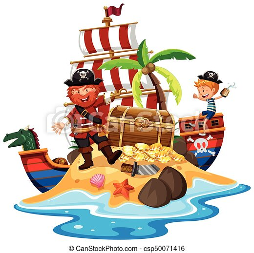 pirate and ship at treasure island illustration vector clip art rh canstockphoto com treasure clipart png clipart treasure map