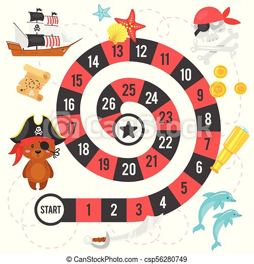 vector flat style illustration of kids pirate board game template