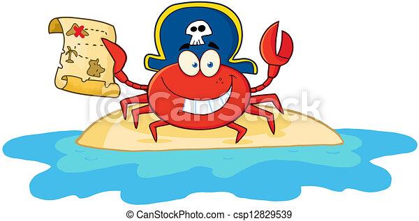 Pirate Crab Holding A Treasure Map  - csp12829539