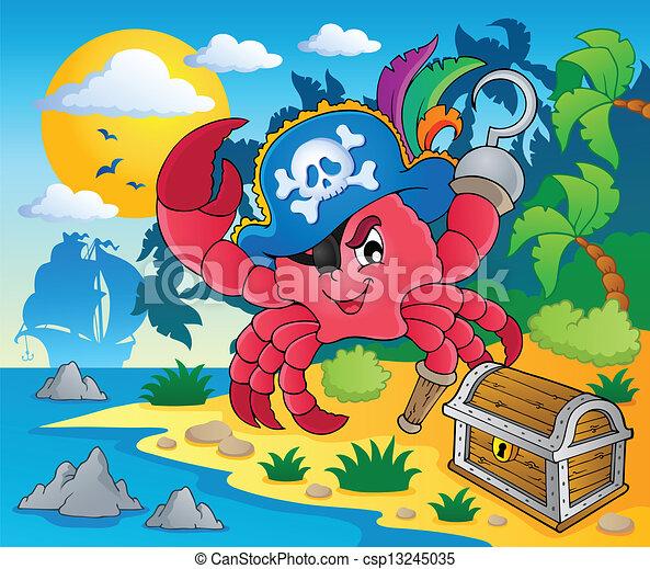 pirate crab theme image 2 vector illustration