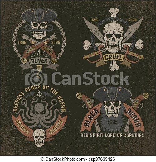 Pirate emblem in grunge style - csp37633426