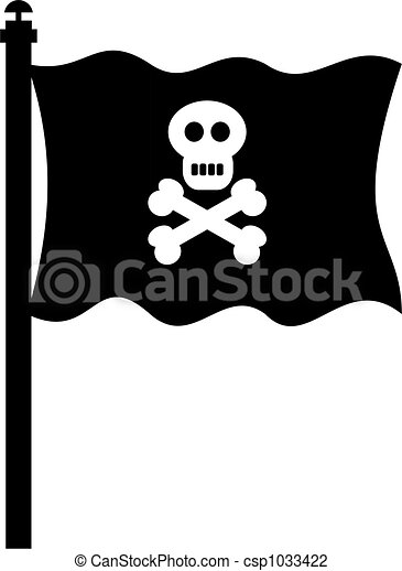 pirate flag isolated black pirate skull and crossbones flag clip rh canstockphoto com pirate flag clip art free Pirate Sword Clip Art