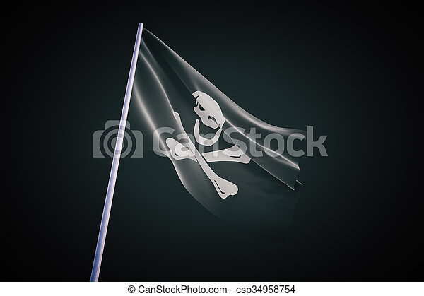pirate flag on black background - csp34958754