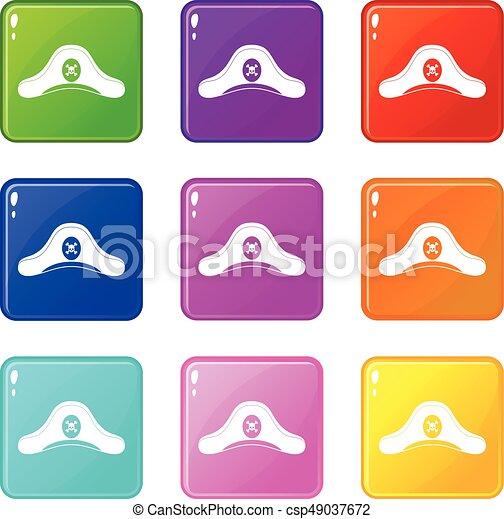 Pirate hat icons 9 set - csp49037672