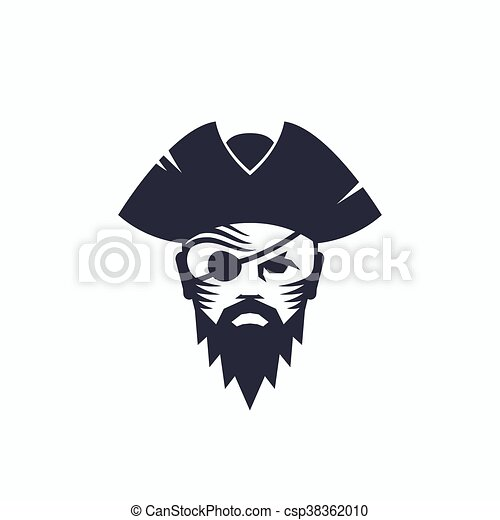 f09ecb86dff Pirate head abstract vector logo template. sailor face with an eye patch in  a hat illustration. corsair symbol. isolated.