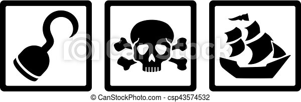 ad5e387b3ac Pirate icons. Hook, Skull with bones, ship