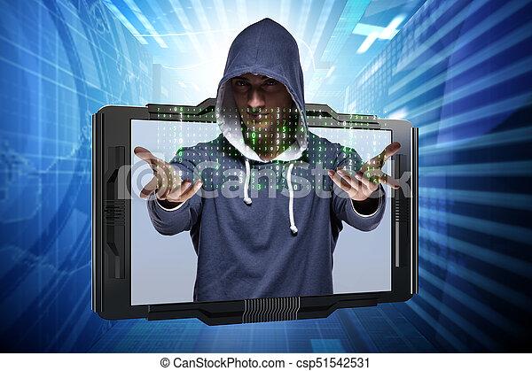 pirate informatique, sécurité, concept, jeune, cyber - csp51542531