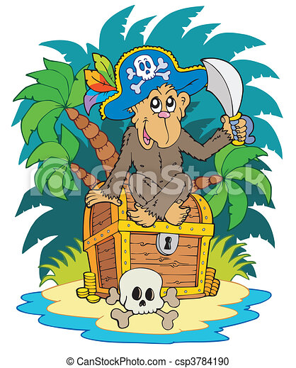 Pirate island with monkey - csp3784190