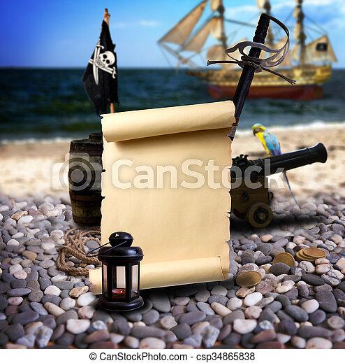 Pirate landscape on the beach - csp34865838